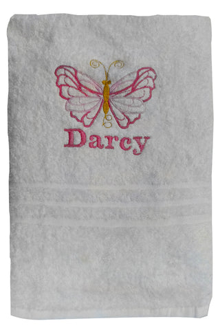 Butterfly bath towel with a name available in 6 colours