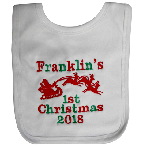 1st christmas bib with santa and sleigh