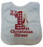 1st Christmas applique Peter rabbit bib personalised with a name