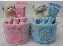 Personalised Nappy Cake single tier with teddy