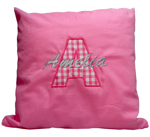 Applique cushion personalised with a name