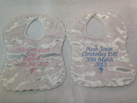 Personalised Satin Christening Bib with small cross
