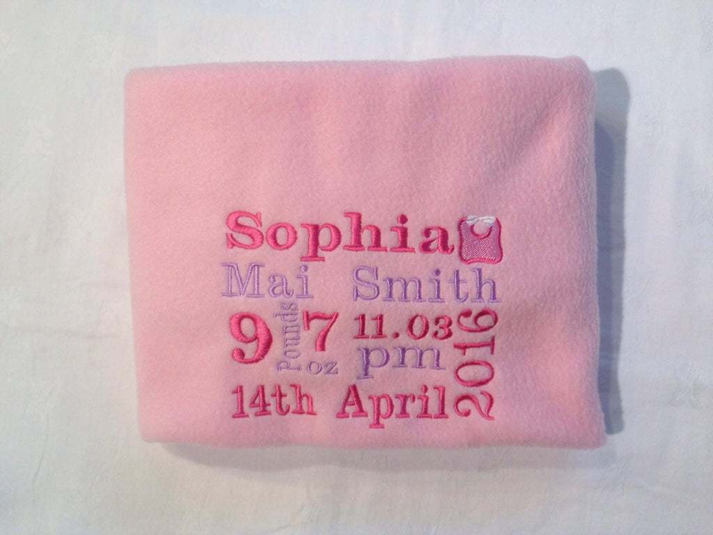 Baby blanket with birth details