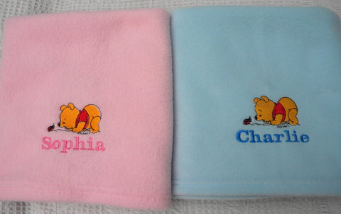 Fleece baby blanket with Winnie the Pooh