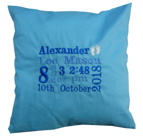 Baby cushion personalised with birth details