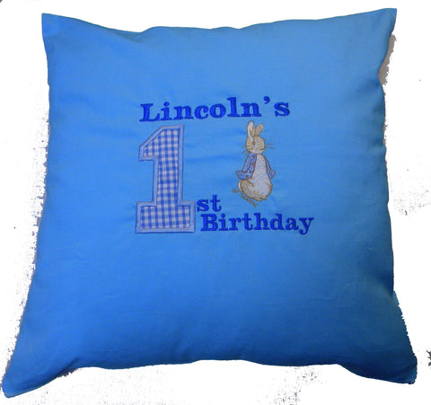 Personalised peter rabbit applique birthday cushion