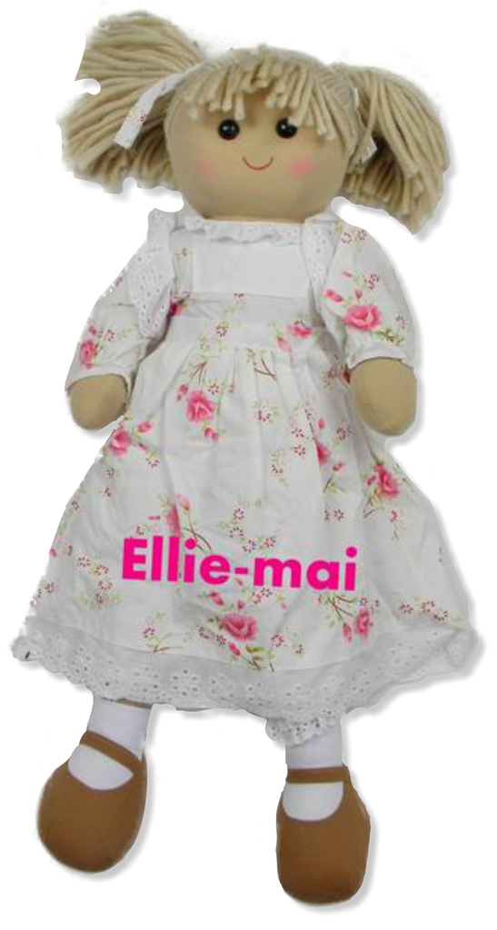 30cm Rag doll with pink flower dress personalised with a name