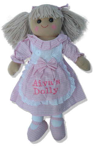 Rag doll 30cm with pink gingham dress