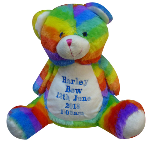 Personalised Mumbles Rainbow bear with name and short message