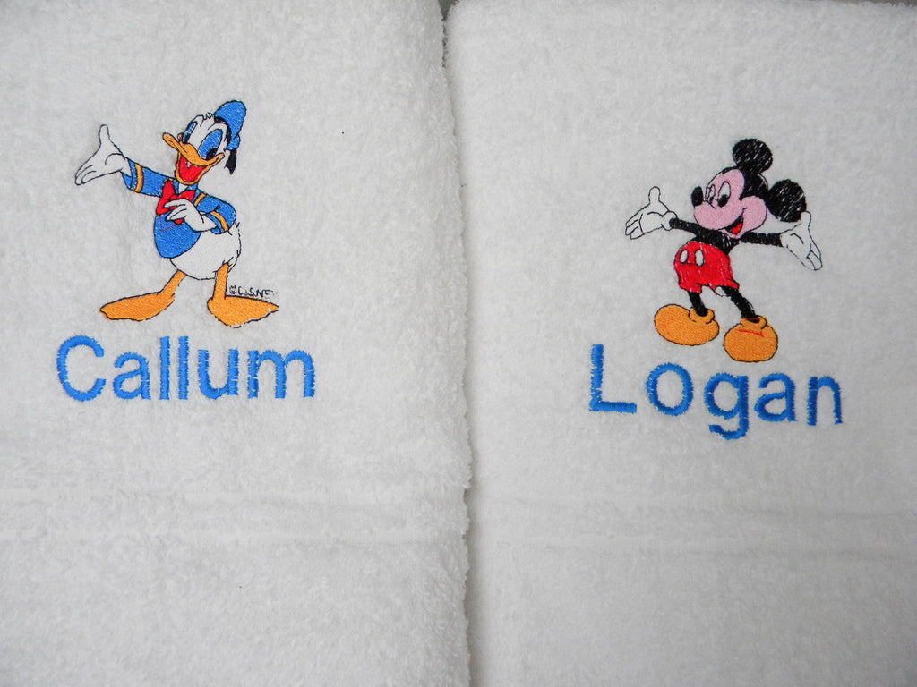 Mickey Mouse bath towel with a name available in 6 colours