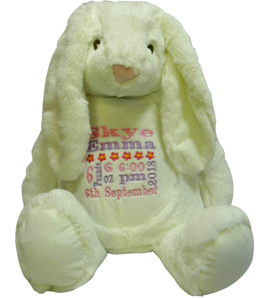 Personalised Mumbles white rabbit with name and short message
