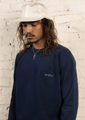 SECOND/LAYER Navy Pullover Crew Neck