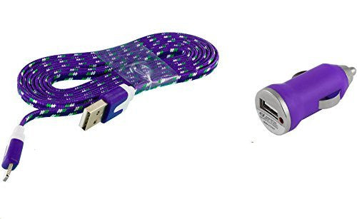 ZTE Lever LTE Purple Car Charger with 3 FT Premium Braided Flat Cable with 1.0 AMP Vehicle Adapter & LED Light - Cell-stuff