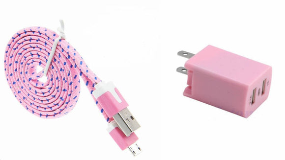 Home Wall Charger with 3 Ft. Light Pink Braided Micro USB Cable and Dual USB Outlet
