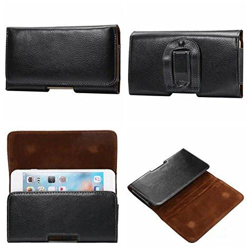 T-Mobile REVVL Genuine Leather Cow Hide Horizontal Case with Magnet Flap and Belt Clip & Loop