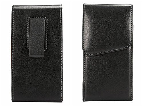LG V20 (Oversized to Accommodate Cover) Vertical Smooth Leather Case with Attached Belt Clip - Cell-stuff