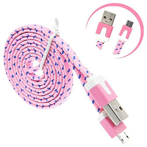 Light Pink Braided Micro USB Charging & Data Cable (3 Feet Length)