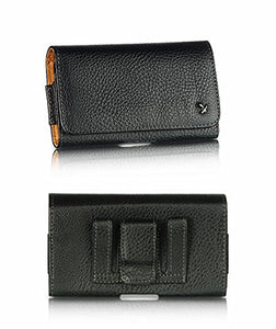 LG Phoenix 2 (Oversized to Accommodate Cover) Horizontal Napa Leather Case with Attached Belt Clip - Cell-stuff