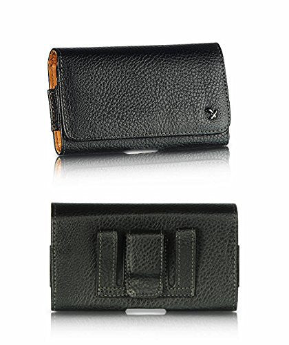 LG X Power (Oversized to Accommodate Cover) Horizontal Napa Leather Case with Attached Belt Clip - Cell-stuff
