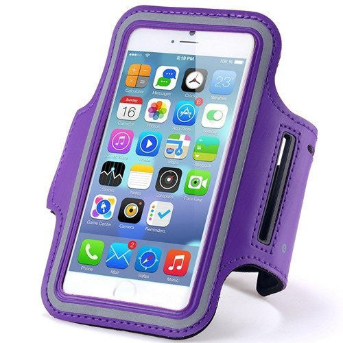 HTC U11 (Sprint) Purple Neoprene Adjustable Sports Arm Band