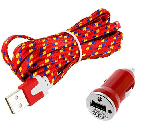ZTE Blade V7 Red Car Charger with 3 FT Premium Braided Flat Cable with 1.0 AMP Vehicle Adapter & LED Light - Cell-stuff