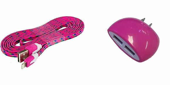iPhone 8 Hot Pink Wall Charger with 3 Ft. Braided Type-C USB Cable and Dual USB Outlet