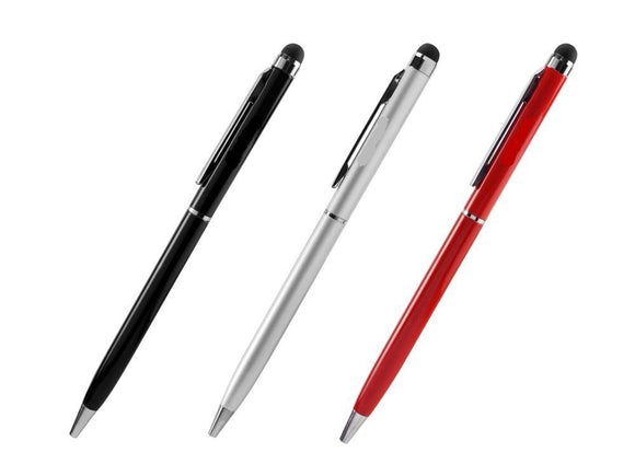 AA - Universal Compact Aluminum 2 in 1 Stylus Pens with Anodized Finish [ 3 Pack Bonus] – White, Red & Black (3 Piece Combo Pack)
