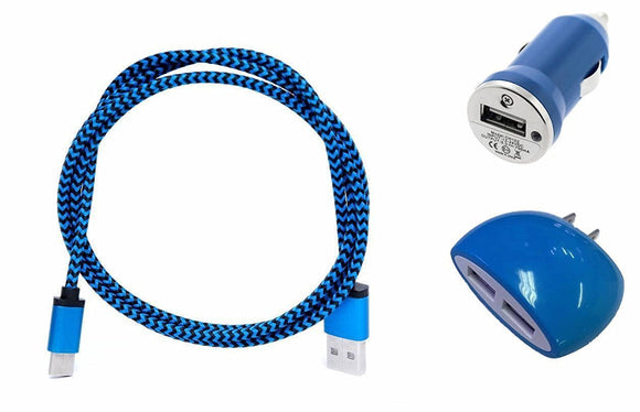 iPhone X (10) Blue Combo Charger Pack with 3 Ft. Braided Type-C USB Cable, Dual USB Home Wall and Car Adapter