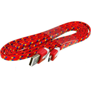 Red Braided Micro USB Charging & Data Cable (3 Feet Length)