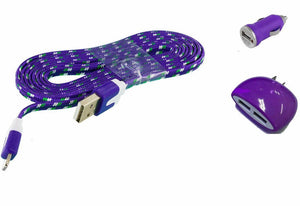 "Alcatel ""Ideal"" Combo Charger Pack with 3 Ft. Purple Braided Type-C USB Cable, Dual USB Home Wall and Car Adapter - Cell-stuff"