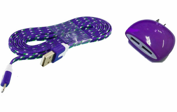 Home Wall Charger with 3 Ft. Purple Braided Micro USB Cable and Dual USB Outlet