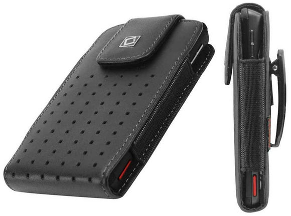 LG Tribute HD (Oversized to Accommodate Cover) Teramo Vertical Leather Case with Attached Belt Clip - Cell-stuff