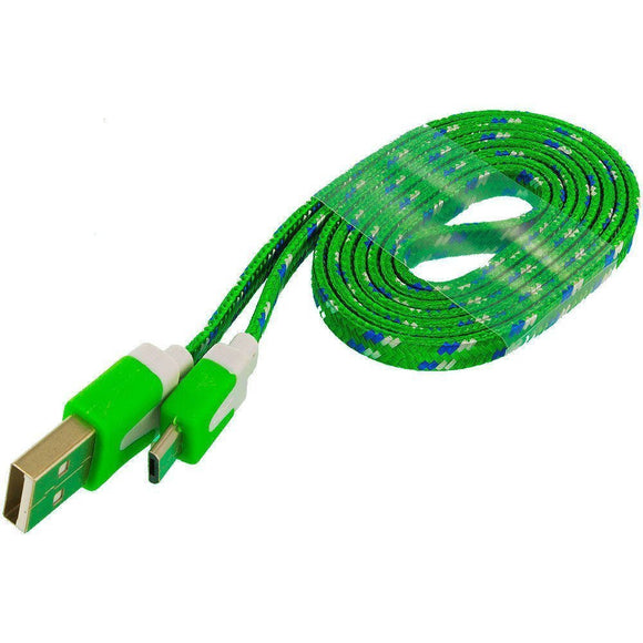 Green Braided Micro USB Charging & Data Cable (3 Feet Length)
