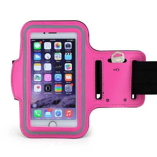 Samsung Galaxy Grand Max Pink Neoprene Adjustable Sports Arm Band - Cell-stuff
