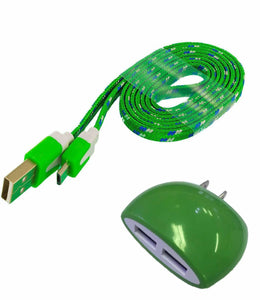 ZTE Grand X 4 Home Wall Charger with 3 Ft. Green Braided Type-C USB Cable and Dual USB Outlet - Cell-stuff