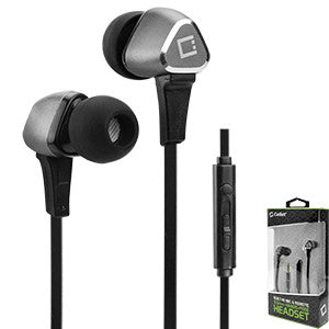 "Alcatel ""Ideal"" Silver Cellet Premium 3.5mm Hands-Free Stereo In-Ear Headphones with Multifunction Remote - Cell-stuff"