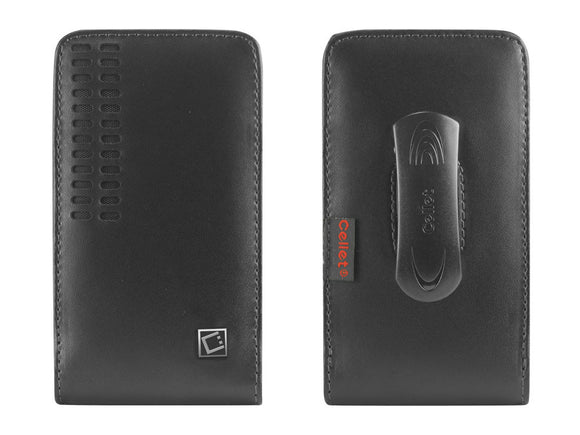 ZTE Grand X 4 (Oversized to Accommodate Cover) Bergamo Leather Vertical Case with Attached Belt Clip - Cell-stuff