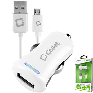 Samsung Galaxy Halo (Cricket) Cellet White High Powered 10Watt (2.1Amp) Car Charger 4 FT Micro USB Cable