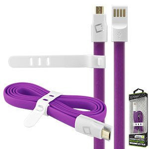 "Alcatel Idol 3 (5.5"") Purple Cellet 3 Ft. Flat Wire Charging/Data Sync Cable - Cell-stuff"