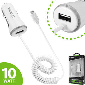 Alcatel Streak White High Powered 10 Watt (2.1 Amp) Micro USB Car Charger with USB Port - Cell-stuff