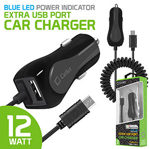 Alcatel CameoX Black High Powered 10 Watt (2.1 Amp) Micro USB Car Charger with USB Port