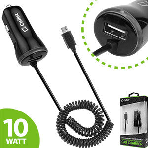 ZTE Lever LTE Black High Powered 10 Watt (2.1 Amp) Micro USB Car Charger with USB Port - Cell-stuff