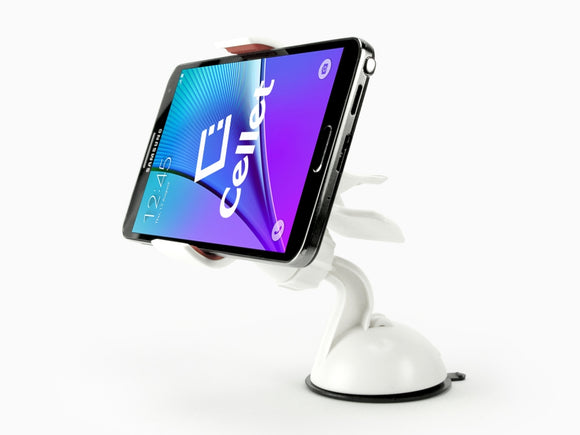Samsung Note 9 White Dashboard/Windshield Holder (2 Prong) with Suction Cup