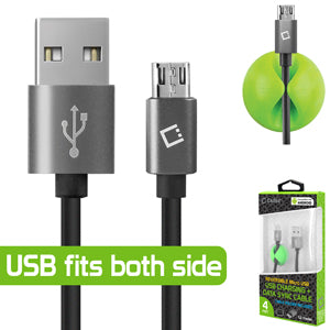 "ZTE ""Blade Advantage"" Cellet Reversible 4 FT Micro USB Charging + Data Sync Cable (Cable Holder Included)"