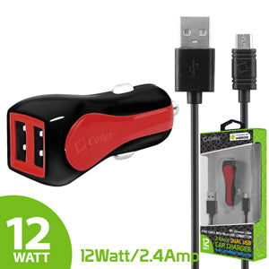 "LG ""Stylo 3"" Cellet Red RapidCharge 12W 2.4A Dual USB Car Charger with 4 FT Micro USB Cable"