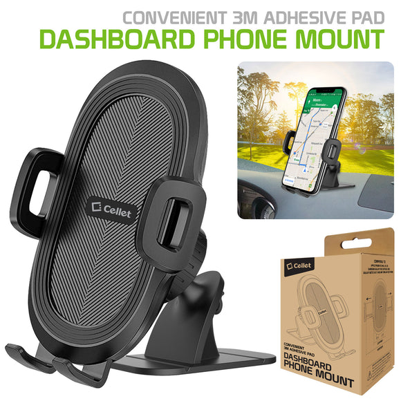 AA - Cellet Universal 3M Adhesive Dashboard Mount Smartphone Holder - Good for Rough Dash Surfaces