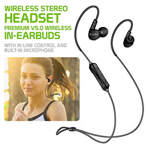 AA - Universal Bluetooth Wireless Stereo Headset, Premium V5.0 Wireless In-Earbuds with In-line Control and Built-in Microphone by Cellet