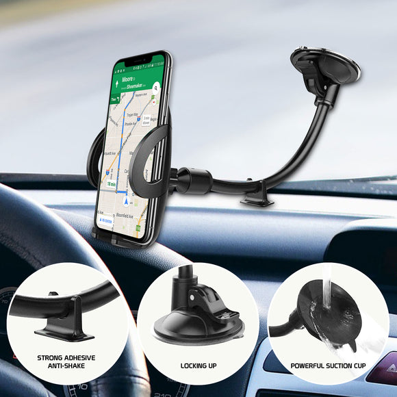 Windshield/Dashboard Phone Holder Mount w/ Lock Lever, One Touch Release Button, Stabilizer, Flexible Gooseneck and Reusable Suction Pad Compatible with LG G8X ThinQ