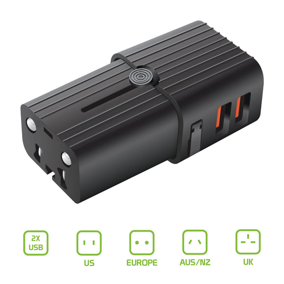 Worldwide All-In-One Universal Pocket Size Power Adapter with Dual USB Ports compatible with LG G8X ThinQ and all other cell phones & tablets