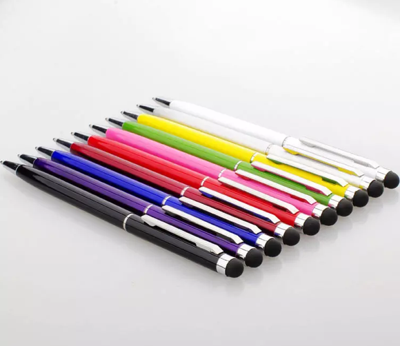 Universal Compact Aluminum 2 in 1 Stylus Pens with Anodized Finish [ 3 Pack Bonus] – Random Colors